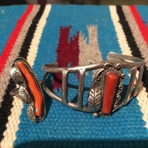 Jewelry - Vintage Native American Coral cuff and Ring!!